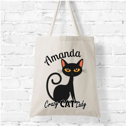 Personalised Natural Soft Tote Bag N4 - Crazy Cat Lady